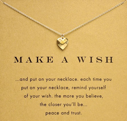 Make a wish gold heart necklace aloadofball Choice Image